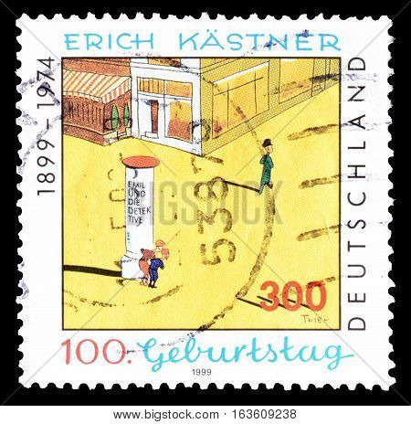 GERMANY - CIRCA 1999 : Cancelled postage stamp printed by Germany, that shows Erich Kastner.