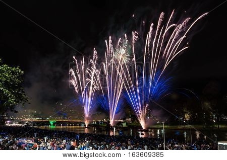 New Years Eve 2017 fireworks display on the banks of the River Torrens, South Australia.