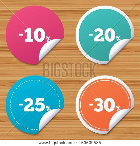 Round stickers or website banners. Sale discount icons. Special offer price signs. 10, 20, 25 and 30 percent off reduction symbols. Circle badges with bended corner. Vector