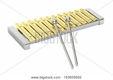 Metallic xylophone toy. 3D rendering isolated on white background