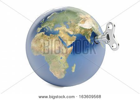 Earth with wind-up key 3D rendering isolated on white background