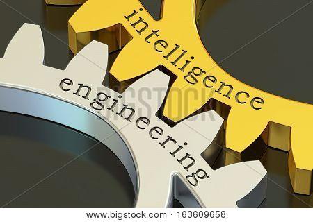 intelligence engineering concept on the gearwheels 3D rendering