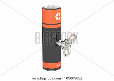 rechargeable battery accumulator AA with wind-up key. 3D rendering isolated on white background