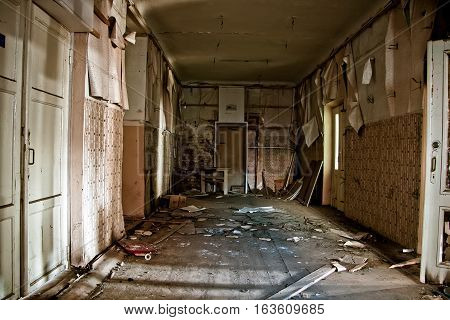Corridor in the abandoned and rotten rural school