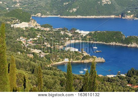 The view on a bay in a heart shape and beach Corfu Greece