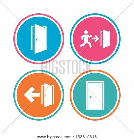 Doors icons. Emergency exit with human figure and arrow symbols. Fire exit signs. Colored circle buttons. Vector