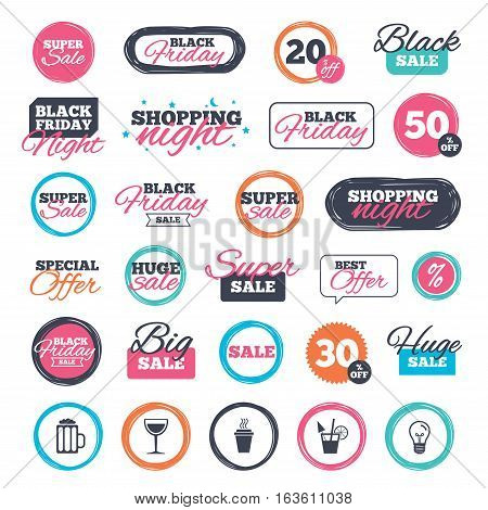 Sale shopping stickers and banners. Drinks icons. Take away coffee cup and glass of beer symbols. Wine glass and cocktail signs. Website badges. Black friday. Vector