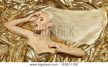 Gold Fashion Hair Style Blonde Woman Hairstyle Golden Long Straight Hair on Luxury Color background