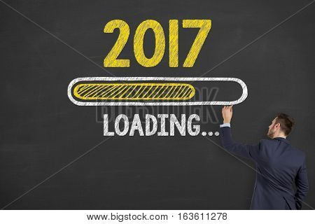Innovation Concepts Loading New Year 2017 on Chalkboard Background