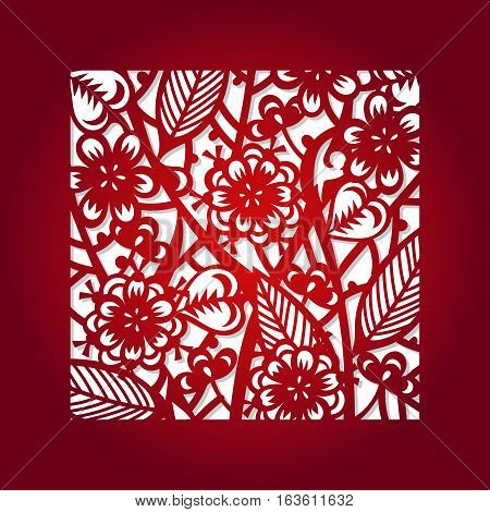 Laser cut flower square pattern for decorative panel. Vector template ready for printing, postcards packets, wedding invitation, engraving, paper, wood, metal.