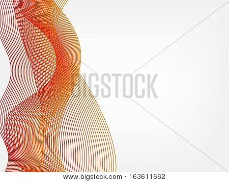 abstract vector waved line background - red and orange