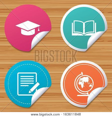 Round stickers or website banners. Pencil with document and open book icons. Graduation cap and geography globe symbols. Learn signs. Circle badges with bended corner. Vector