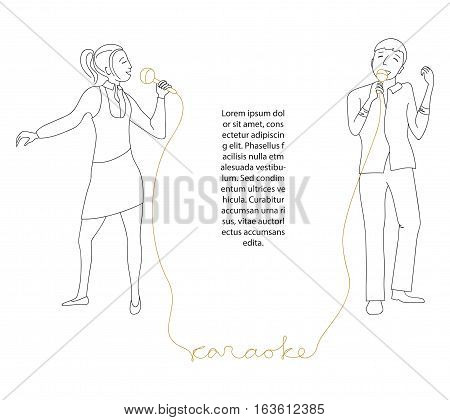 Woman and man singing into microphone, Friends sing in karaoke party, Place for text, Line doodle style vector