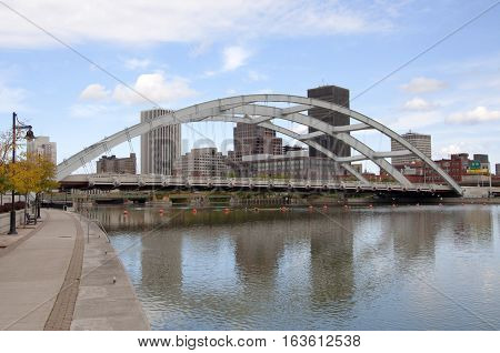 Rochester Downtown Skyline and bridge, Upstate New York, USA.