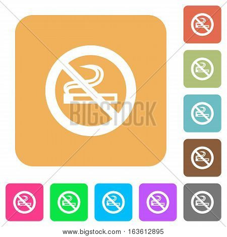 No smoking icons on rounded square vivid color backgrounds.