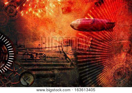 Vintage steampunk design background with cogs, airship, clocks, fireworks and steam engine elements. Grunge textured digital photo illustration.