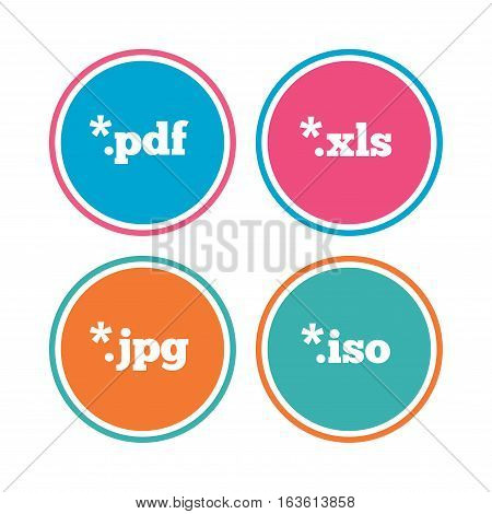 Document icons. File extensions symbols. PDF, XLS, JPG and ISO virtual drive signs. Colored circle buttons. Vector