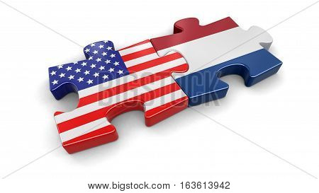 3D Illustration. USA and Netherlands puzzle from flags. Image with clipping path