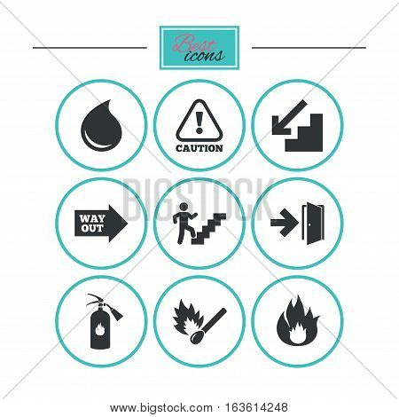 Fire safety, emergency icons. Fire extinguisher, exit and attention signs. Caution, water drop and way out symbols. Round flat buttons with icons. Vector