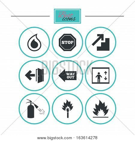 Fire safety, emergency icons. Fire extinguisher, exit and stop signs. Elevator, water drop and match symbols. Round flat buttons with icons. Vector