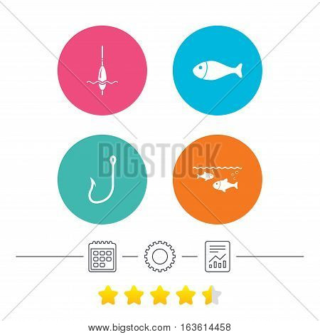 Fishing icons. Fish with fishermen hook sign. Float bobber symbol. Calendar, cogwheel and report linear icons. Star vote ranking. Vector