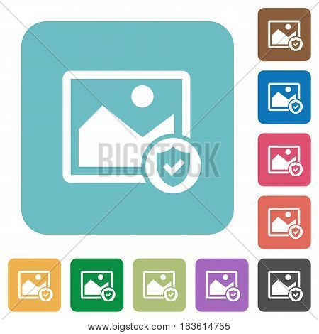 Protected image white flat icons on color rounded square backgrounds