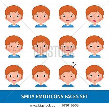 Boy child cute emoji set smily emoticons faces vector illustration