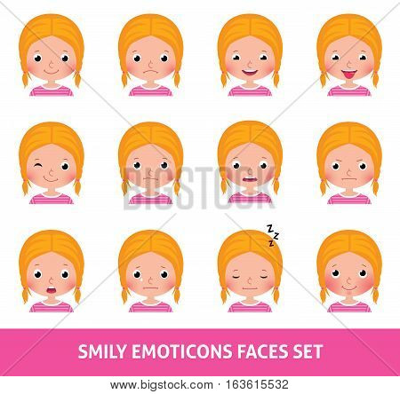 Girl child cute emoji set smily emoticons faces vector illustration