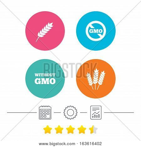 Agricultural icons. Gluten free or No gluten signs. Without Genetically modified food symbols. Calendar, cogwheel and report linear icons. Star vote ranking. Vector