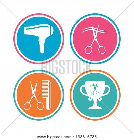 Hairdresser icons. Scissors cut hair symbol. Comb hair with hairdryer symbol. Barbershop winner award cup. Colored circle buttons. Vector