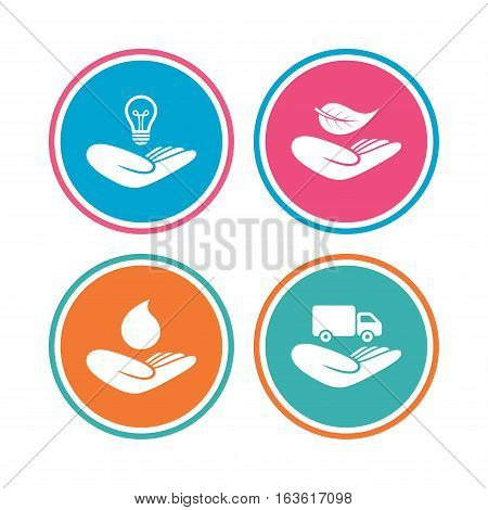 Helping hands icons. Intellectual property insurance symbol. Delivery truck sign. Save nature leaf and water drop. Colored circle buttons. Vector