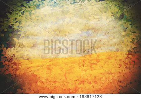 Vignette and border of leaves over a grunge textured desert scene background. Climate change, global warming concepts. Copy space for text.