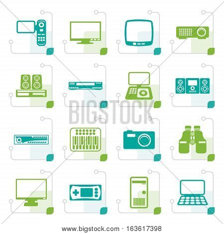 Stylized Hi-tech equipment icons - vector icon set 2