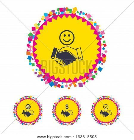 Web buttons with confetti pieces. Handshake icons. World, Smile happy face and house building symbol. Dollar cash money. Amicable agreement. Bright stylish design. Vector