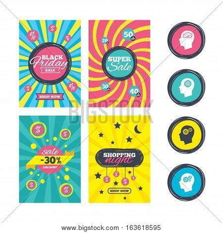 Sale website banner templates. Head with brain icon. Male human think symbols. Cogwheel gears signs. Ads promotional material. Vector
