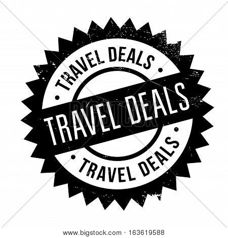 Travel Deals stamp. Grunge design with dust scratches. Effects can be easily removed for a clean, crisp look. Color is easily changed.