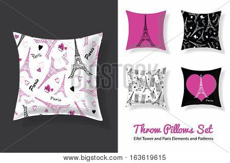 Set Of Vector Throw Pillows In Matching Unique Eifel Tower, Paris Prints and Seamless Patterns. Square Shape. Editable Templates. Surface pattern design. Textile design. Home decor design.