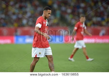 Rio Brazil - december 28 2016: Neymar Junior during game of the stars closing the calendar of Brazilian football brings together artists musicians and famous players at Maracana