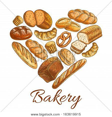 Bakery heart symbol of sketched wheat and rye bread loaf, bagel, croissant, pretzel, sweet bun, cinnamon roll, muffin, dessert pie. Bakery shop, pastry, patisserie or grocery vector poster