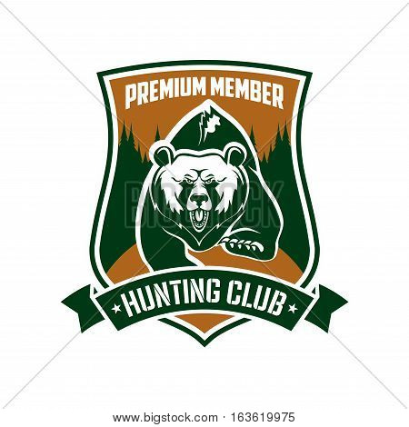 Hunting club vector emblem. Hunter adventure premium membership identity symbol. Badge sign with wild bear grizzly running in forest, rifles, guns, green ribbon in shield form
