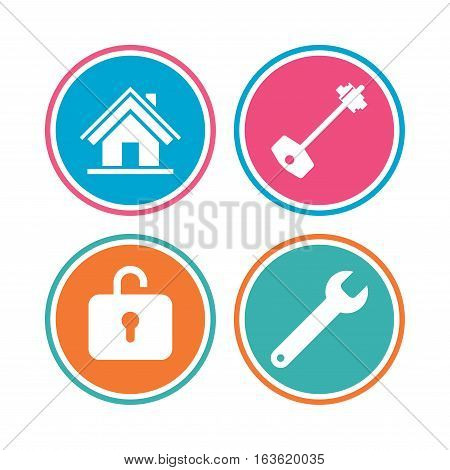 Home key icon. Wrench service tool symbol. Locker sign. Main page web navigation. Colored circle buttons. Vector