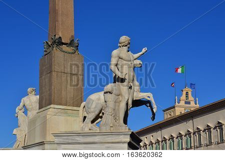 Quirinal Hill with Horse Tamers ancient roman statues and President of Italian Republic official residence in Rome