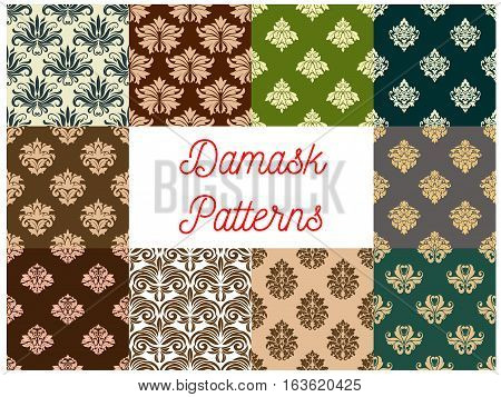 Damask patterns. Vector ornate floral embellishment tracery motif. Luxury backdrops of flowery ornate ornament tiles. Vector seamless flourish background with royal vintage and rococo design