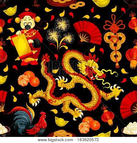 Chinese New Year and Spring Festival holidays seamless pattern with red rooster, golden dragon, lantern, fortune coin, god of wealth, mandarin fruit, gold ingot, fan and firework on black background