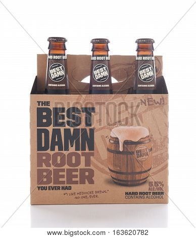 IRVINE CALIFORNIA - JANUARY 1 2017: Best Damn Root Beer 6 pack. The Hard Root Beer contains 5.5% alcohol. They also brew Hard Apple Ale and Cherry Cola.
