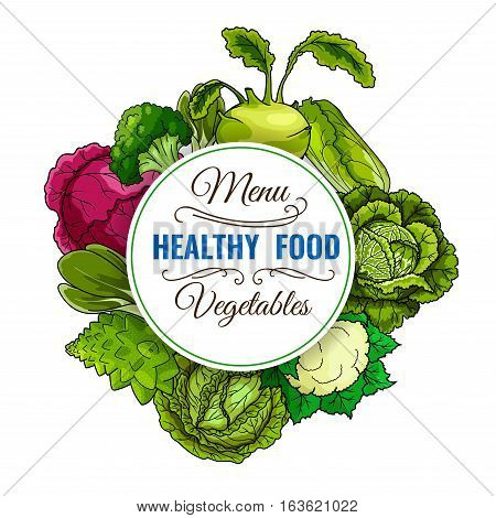 Healthy food poster of vegan leafy vegetables cabbage, broccoli, red cabbage, kohlrabi, chinese cabbage napa, brussels sprouts, cauliflower, bok choy, pak choi, kale. Vegetarian vegetable organic food vector menu