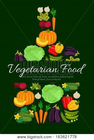 Vegetables, veggies symbol designed of fresh organic pumpkin and broccoli cabbage, cauliflower and avocado, corn, broccoli, green pea and cucumber, chili or bell pepper, tomato, potato and beet with carrot. Vector poster in shape of cutting board