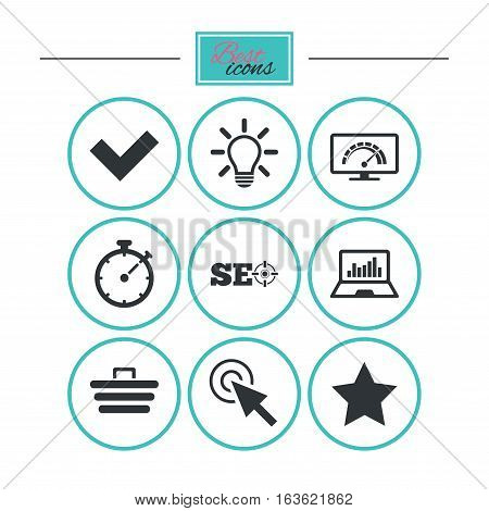 Internet, seo icons. Bandwidth speed, online shopping and tick signs. Favorite star, notebook chart symbols. Round flat buttons with icons. Vector