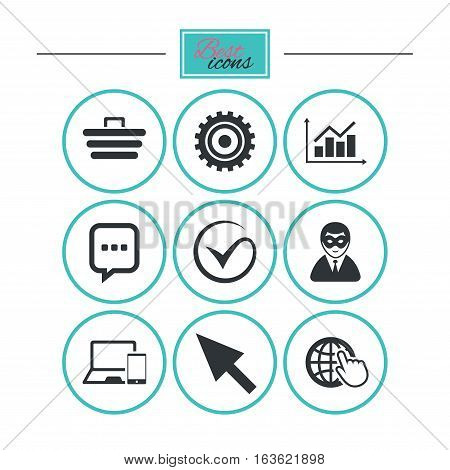 Internet, seo icons. Tick, online shopping and chart signs. Anonymous user, mobile devices and chat symbols. Round flat buttons with icons. Vector