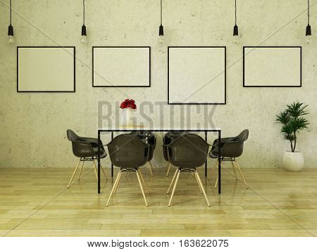 3d render of beautiful dining table with black chairs on wooden floor in front of a concrete wall with picture frames and suspended lights